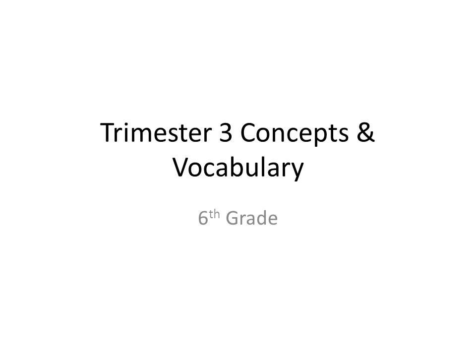 Trimester 3 Concepts & Vocabulary 6 th Grade
