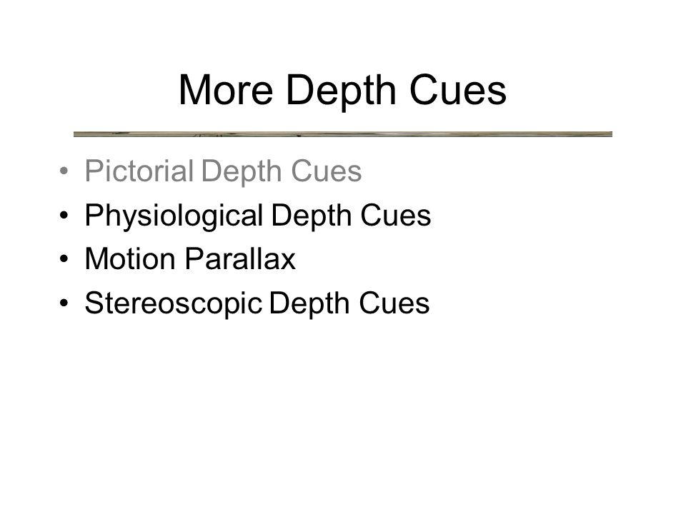 More Depth Cues Pictorial Depth Cues Physiological Depth Cues Motion Parallax Stereoscopic Depth Cues