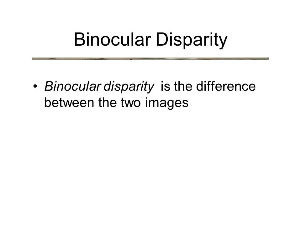 Binocular Disparity Binocular disparity is the difference between the two images
