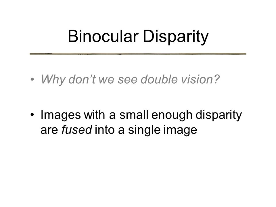 Binocular Disparity Why don't we see double vision.