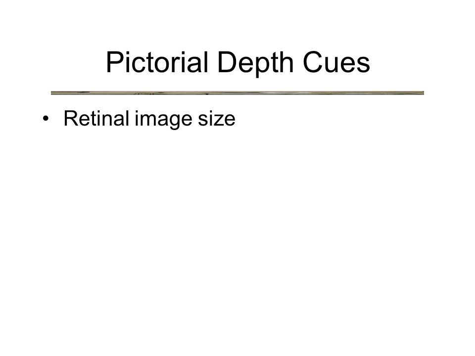 Retinal image size Pictorial Depth Cues