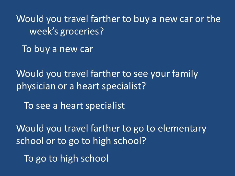 Would you travel farther to buy a new car or the week's groceries.