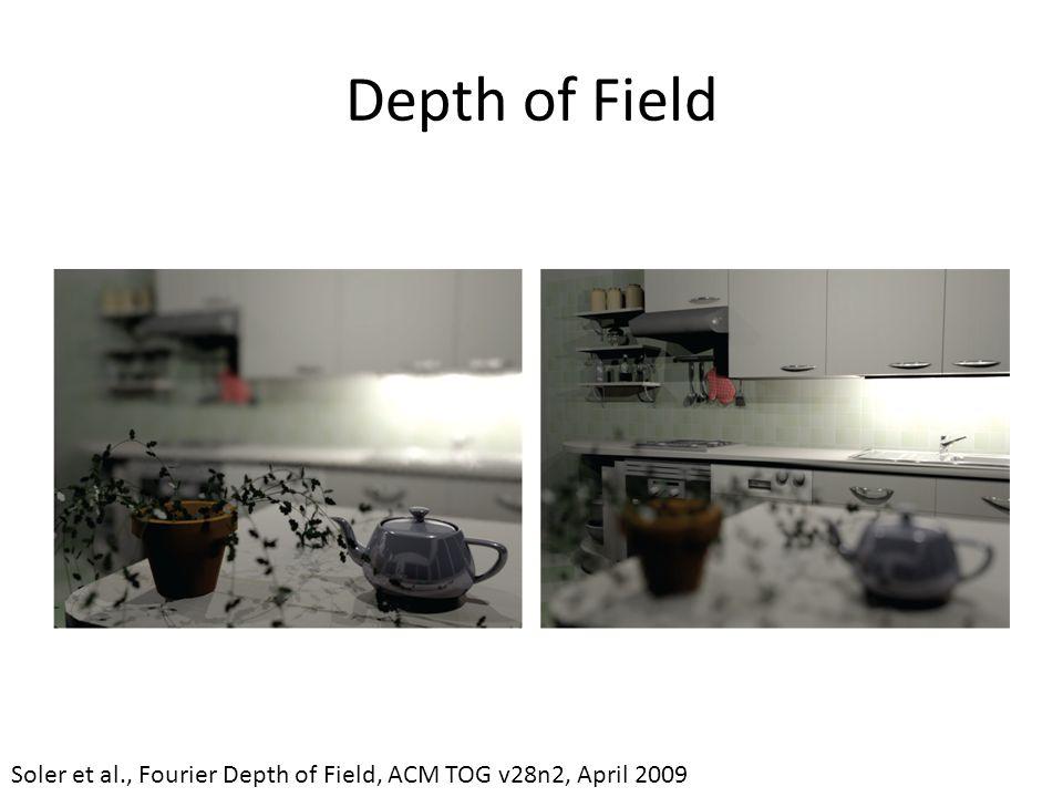 Depth of Field Soler et al., Fourier Depth of Field, ACM TOG v28n2, April 2009