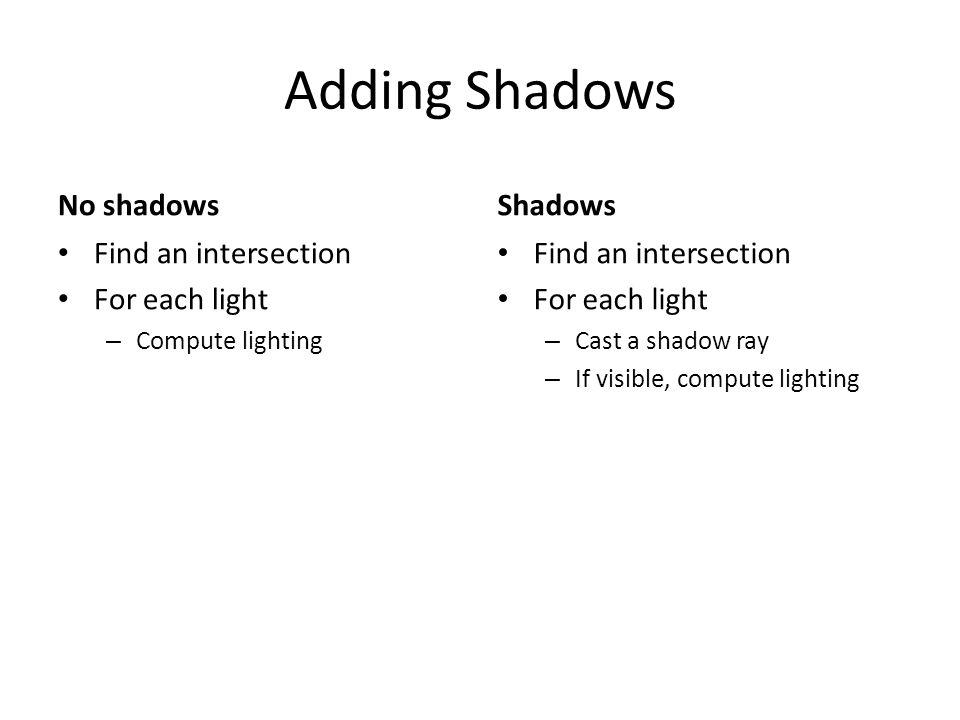 Rasterization Shadows Render Shadow Map – Image from the light – Record depth of closest object along each ray Use a shadow map – Render a pixel/fragment – Transform to light p/rojection – Is pixel farther away – Bias to avoid self shadowing