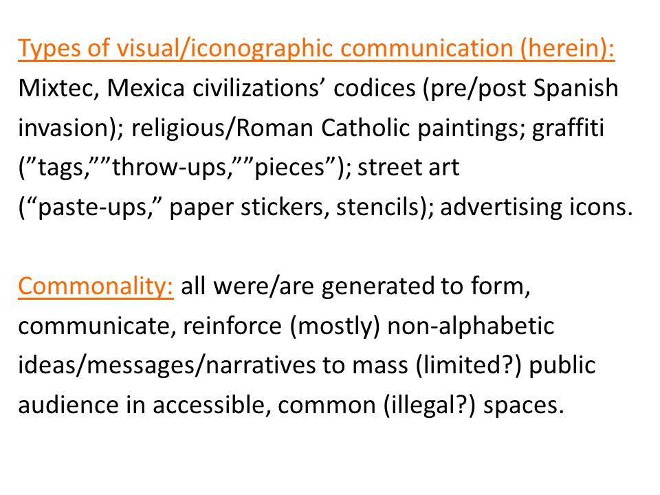 Types of visual/iconographic communication (herein): Mixtec, Mexica civilizations' codices (pre/post Spanish invasion); religious/Roman Catholic paint
