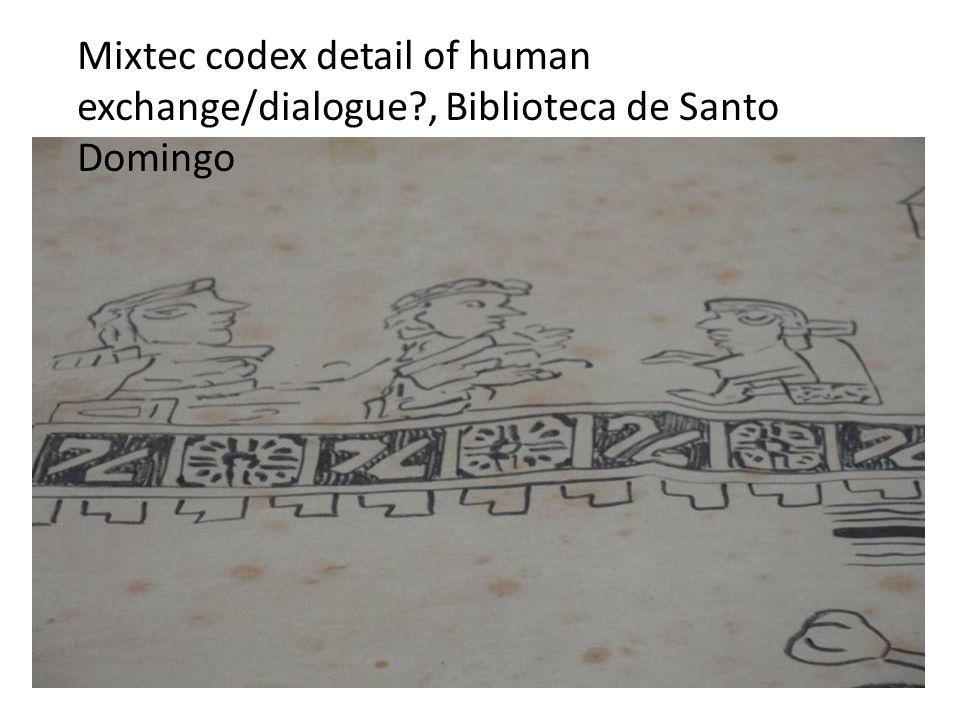Mixtec codex detail of human exchange/dialogue?, Biblioteca de Santo Domingo