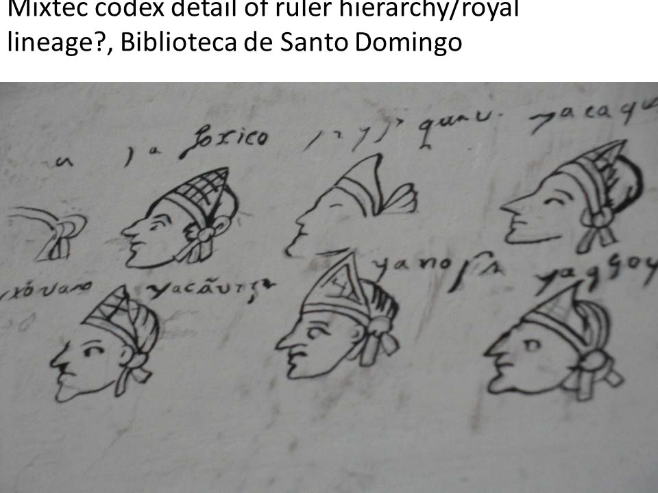 Mixtec codex detail of ruler hierarchy/royal lineage?, Biblioteca de Santo Domingo