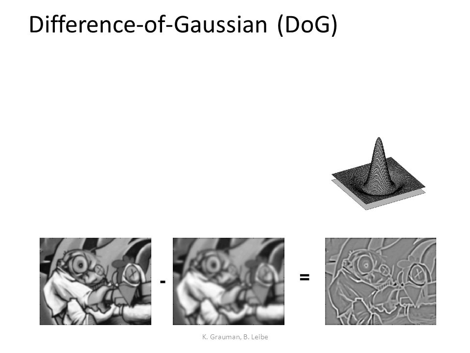 Difference-of-Gaussian (DoG) K. Grauman, B. Leibe - =