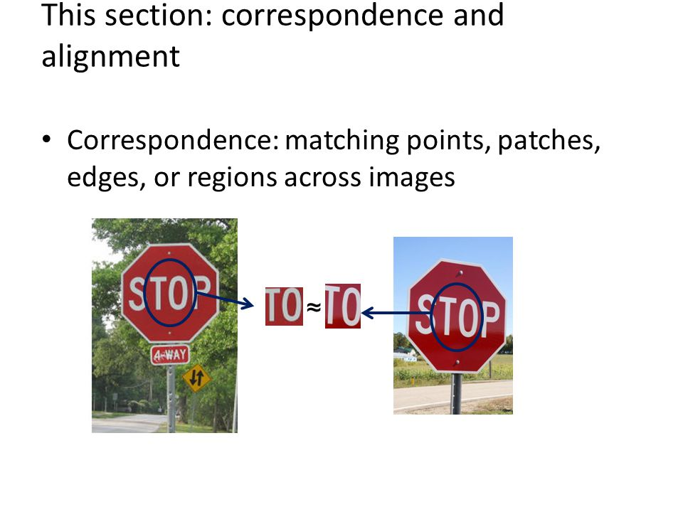 This section: correspondence and alignment Correspondence: matching points, patches, edges, or regions across images ≈
