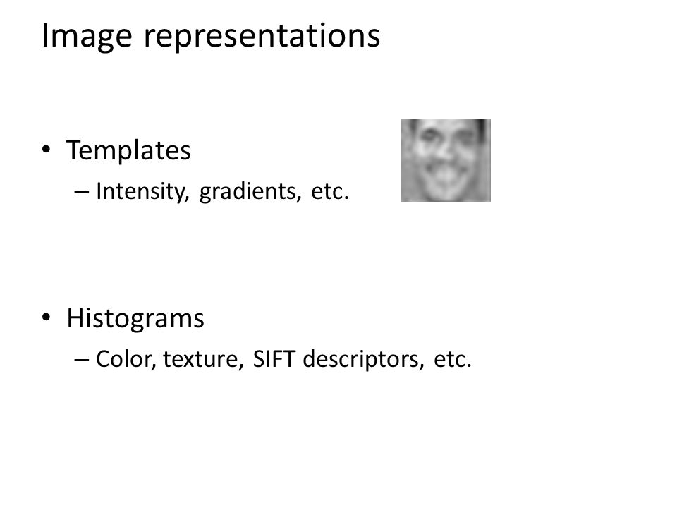 Image representations Templates – Intensity, gradients, etc. Histograms – Color, texture, SIFT descriptors, etc.
