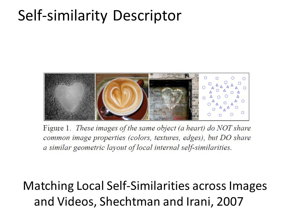 Self-similarity Descriptor Matching Local Self-Similarities across Images and Videos, Shechtman and Irani, 2007