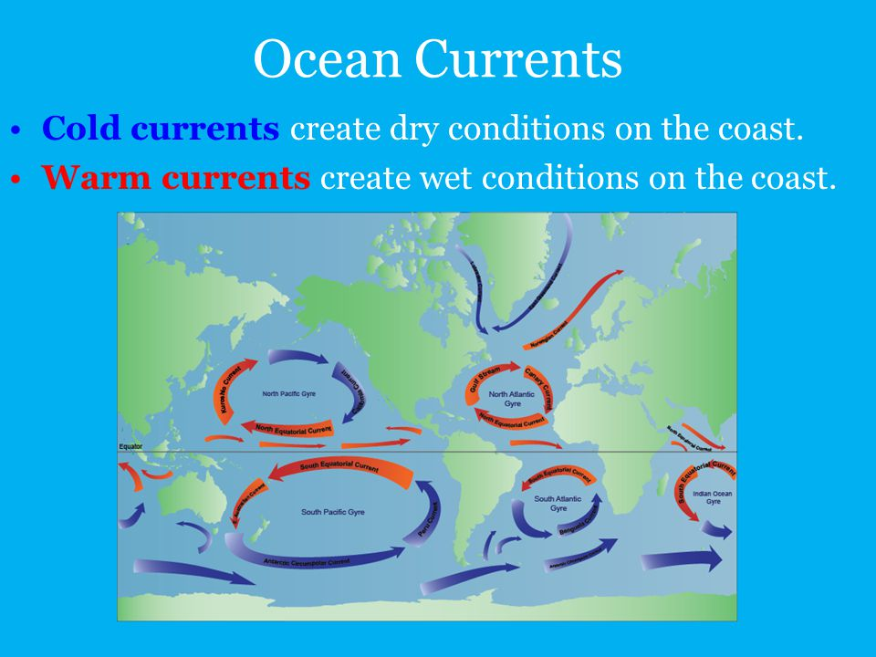 Ocean Currents Cold currents create dry conditions on the coast. Warm currents create wet conditions on the coast.