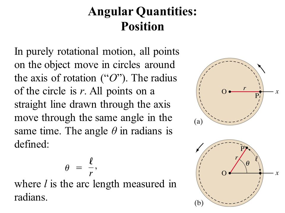 """Angular Quantities: Position In purely rotational motion, all points on the object move in circles around the axis of rotation (""""O""""). The radius of th"""