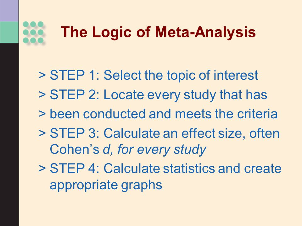 The Logic of Meta-Analysis >STEP 1: Select the topic of interest >STEP 2: Locate every study that has >been conducted and meets the criteria >STEP 3: