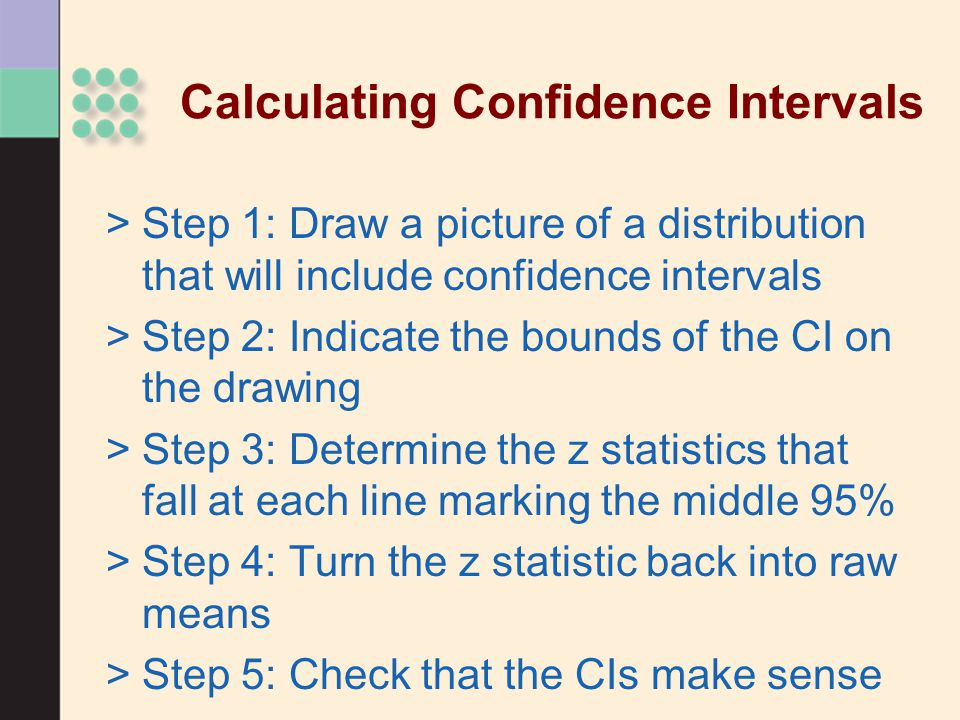Calculating Confidence Intervals >Step 1: Draw a picture of a distribution that will include confidence intervals >Step 2: Indicate the bounds of the