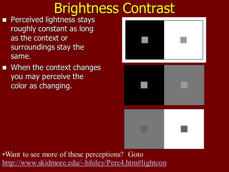 Brightness Contrast Perceived lightness stays roughly constant as long as the context or surroundings stay the same.