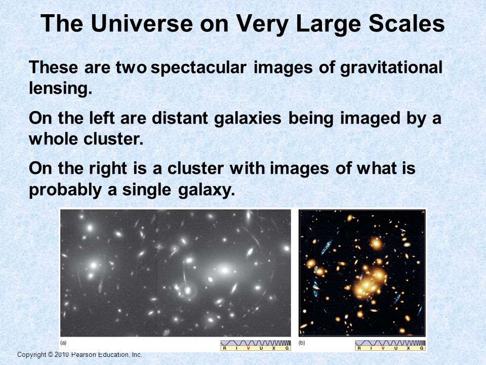 Copyright © 2010 Pearson Education, Inc. These are two spectacular images of gravitational lensing.