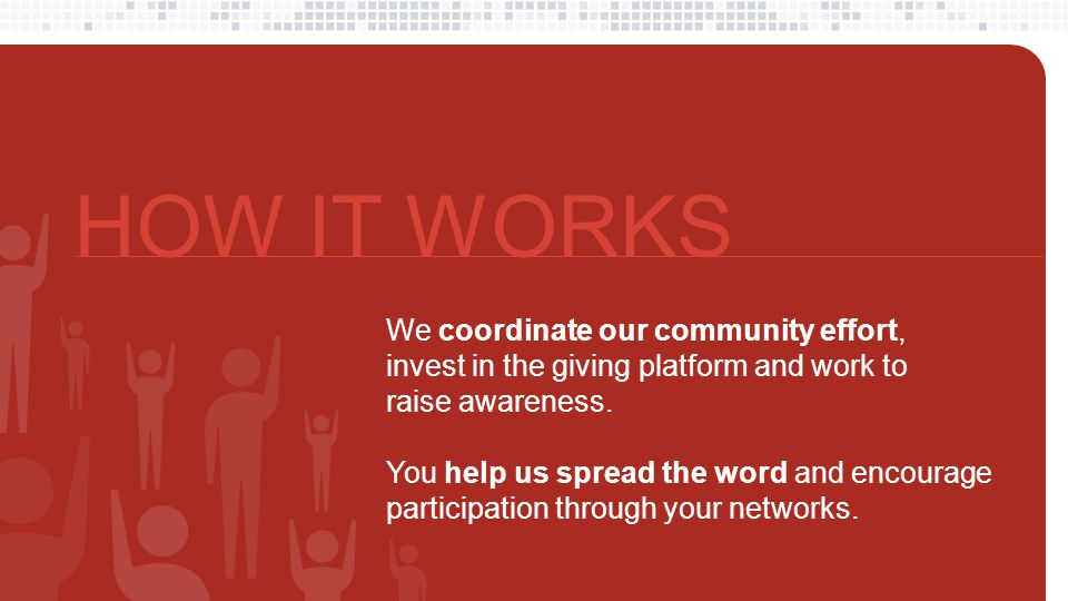 Nonprofit profiles We spotlight your work on our giving site Encourage your network We all spread the word together Everyone can give Receive safe, secure contributions Donors give to your local cause through our giving website, directing their funds to your organization with a click.