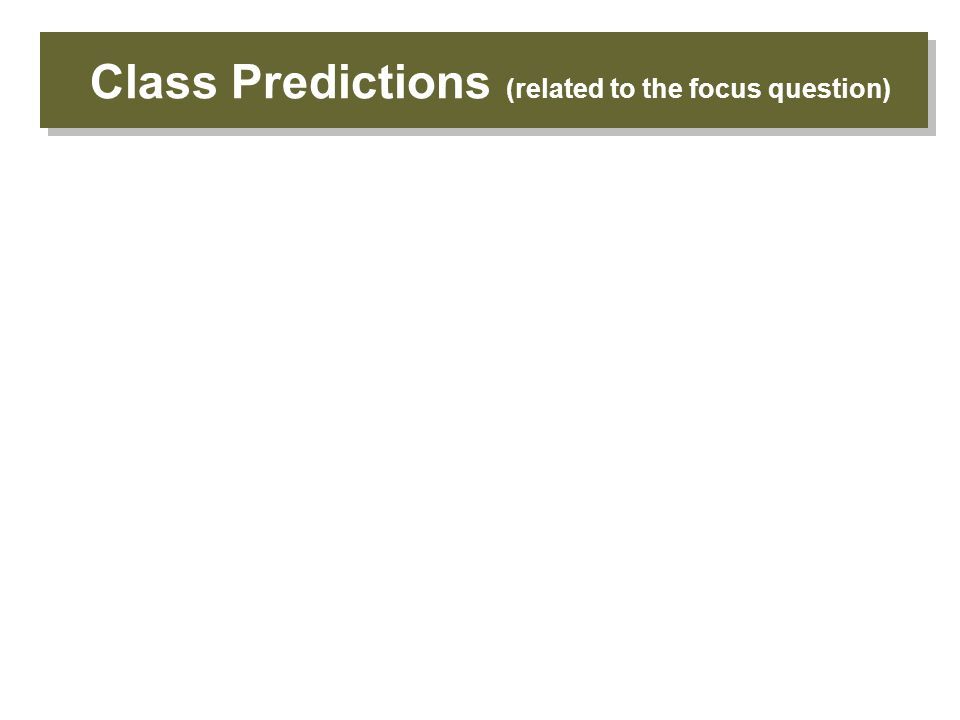 Class Predictions (related to the focus question)