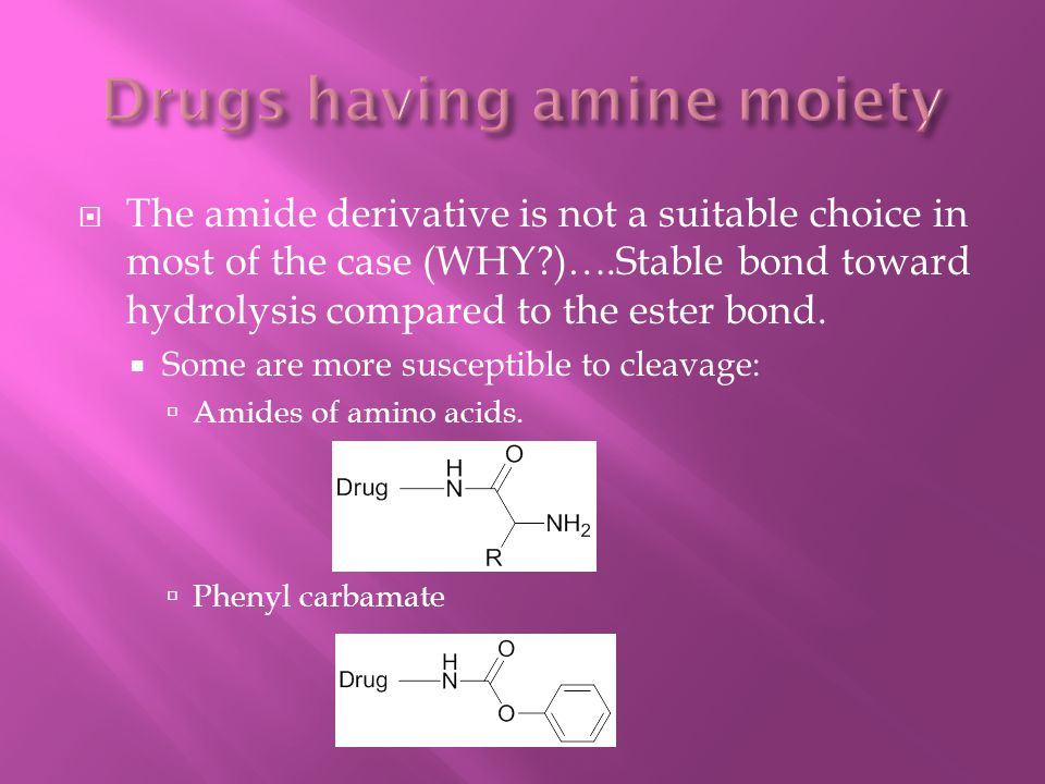  The amide derivative is not a suitable choice in most of the case (WHY?)….Stable bond toward hydrolysis compared to the ester bond.