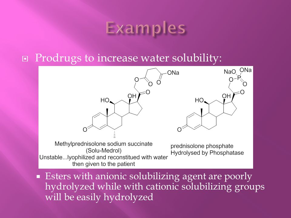  Prodrugs to increase water solubility:  Esters with anionic solubilizing agent are poorly hydrolyzed while with cationic solubilizing groups will b