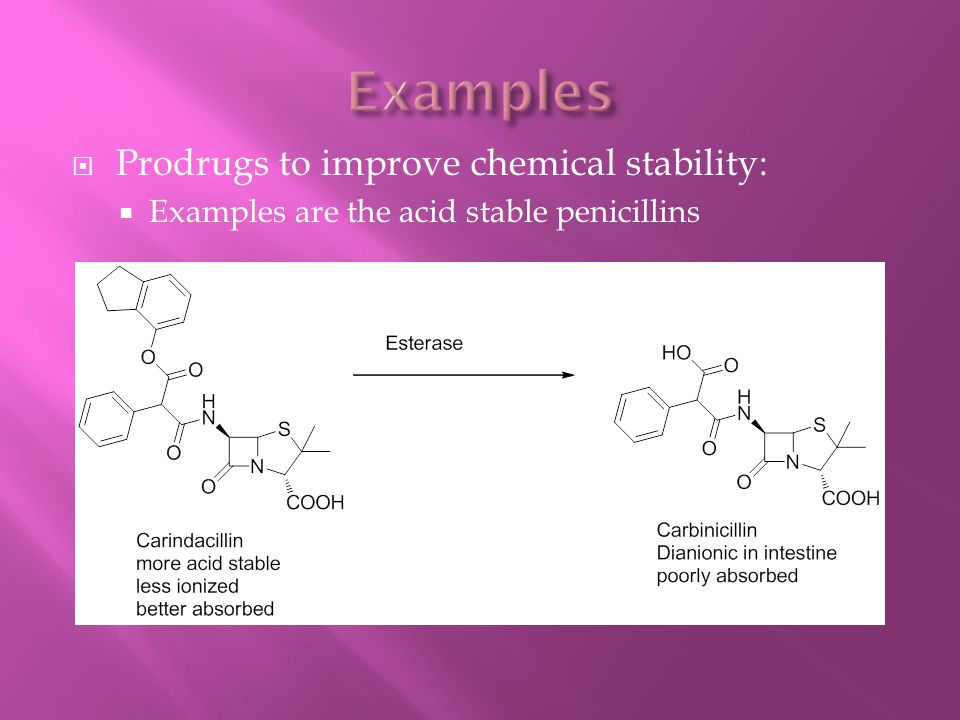  Prodrugs to improve chemical stability:  Examples are the acid stable penicillins