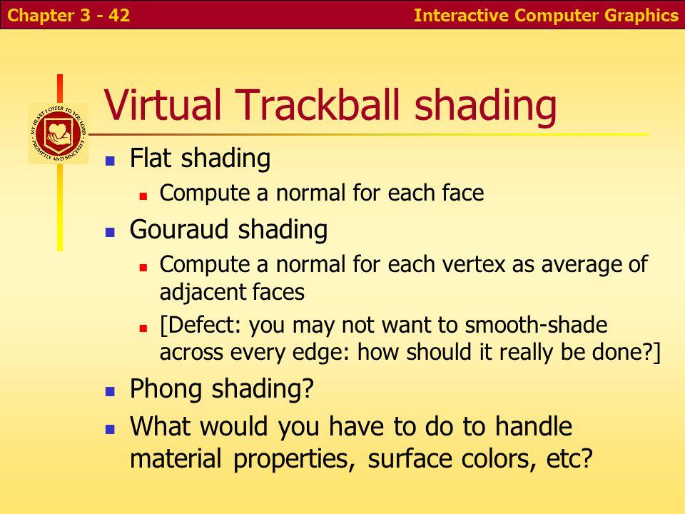 Interactive Computer GraphicsChapter 3 - 42 Virtual Trackball shading Flat shading Compute a normal for each face Gouraud shading Compute a normal for
