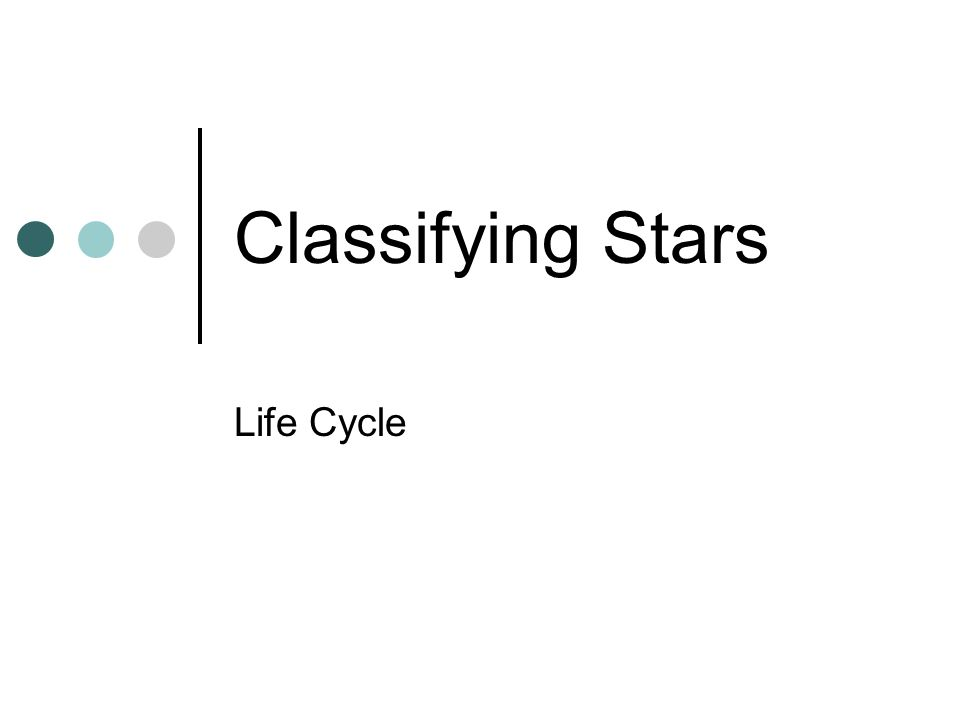 Classifying Stars Life Cycle