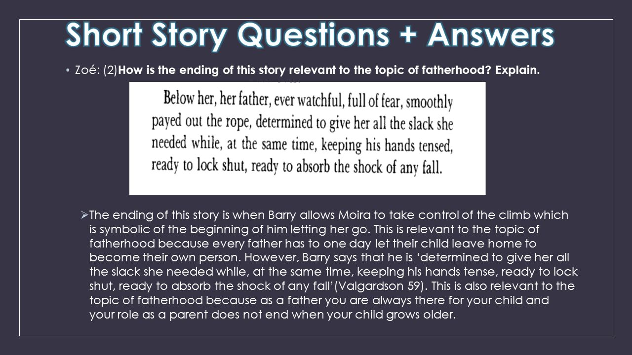 Zoé: (2) How is the ending of this story relevant to the topic of fatherhood? Explain.  The ending of this story is when Barry allows Moira to take c