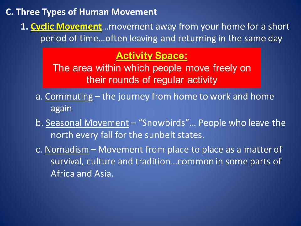 C.Three Types of Human Movement Cyclic Movement 1.
