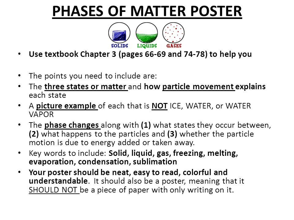PHASES OF MATTER POSTER Use textbook Chapter 3 (pages 66-69 and 74-78) to help you The points you need to include are: The three states or matter and
