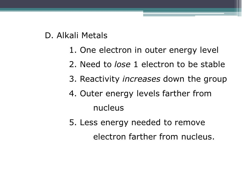 D. Alkali Metals 1. One electron in outer energy level 2.