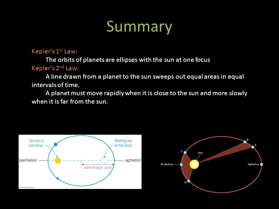 Summary Kepler's 1 st Law: The orbits of planets are ellipses with the sun at one focus Kepler's 2 nd Law: A line drawn from a planet to the sun sweep