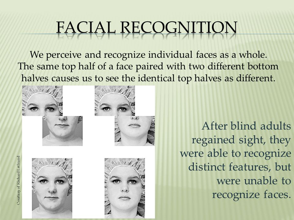 After blind adults regained sight, they were able to recognize distinct features, but were unable to recognize faces.