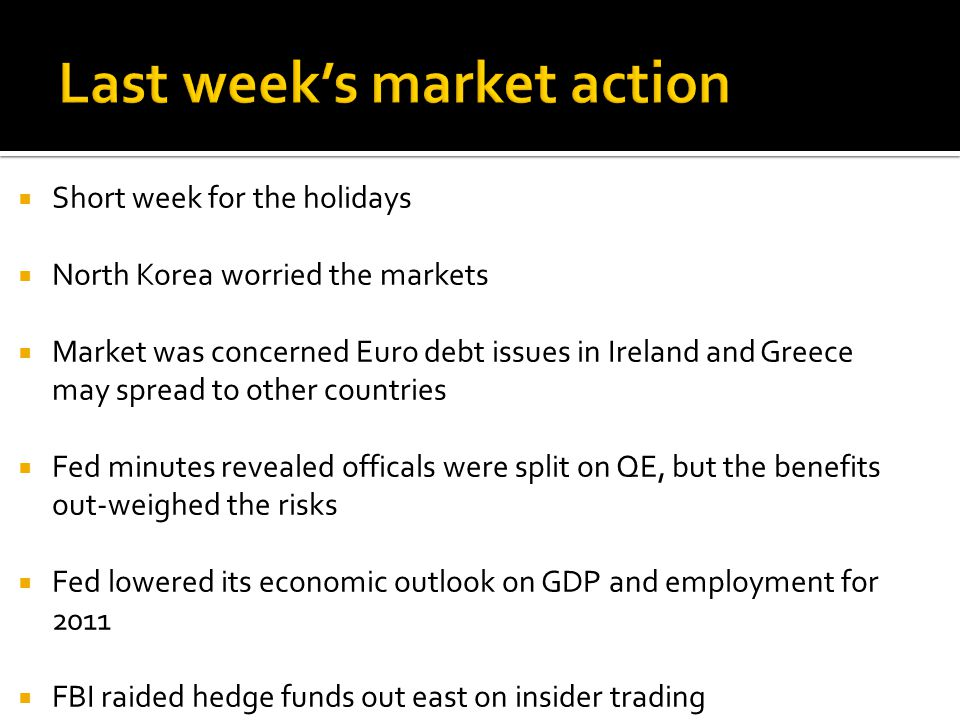  Short week for the holidays  North Korea worried the markets  Market was concerned Euro debt issues in Ireland and Greece may spread to other countries  Fed minutes revealed officals were split on QE, but the benefits out-weighed the risks  Fed lowered its economic outlook on GDP and employment for 2011  FBI raided hedge funds out east on insider trading