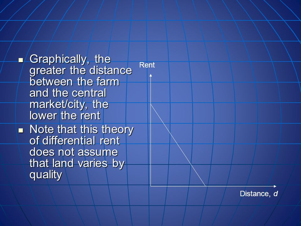 Graphically, the greater the distance between the farm and the central market/city, the lower the rent Graphically, the greater the distance between the farm and the central market/city, the lower the rent Note that this theory of differential rent does not assume that land varies by quality Note that this theory of differential rent does not assume that land varies by quality Distance, d Rent