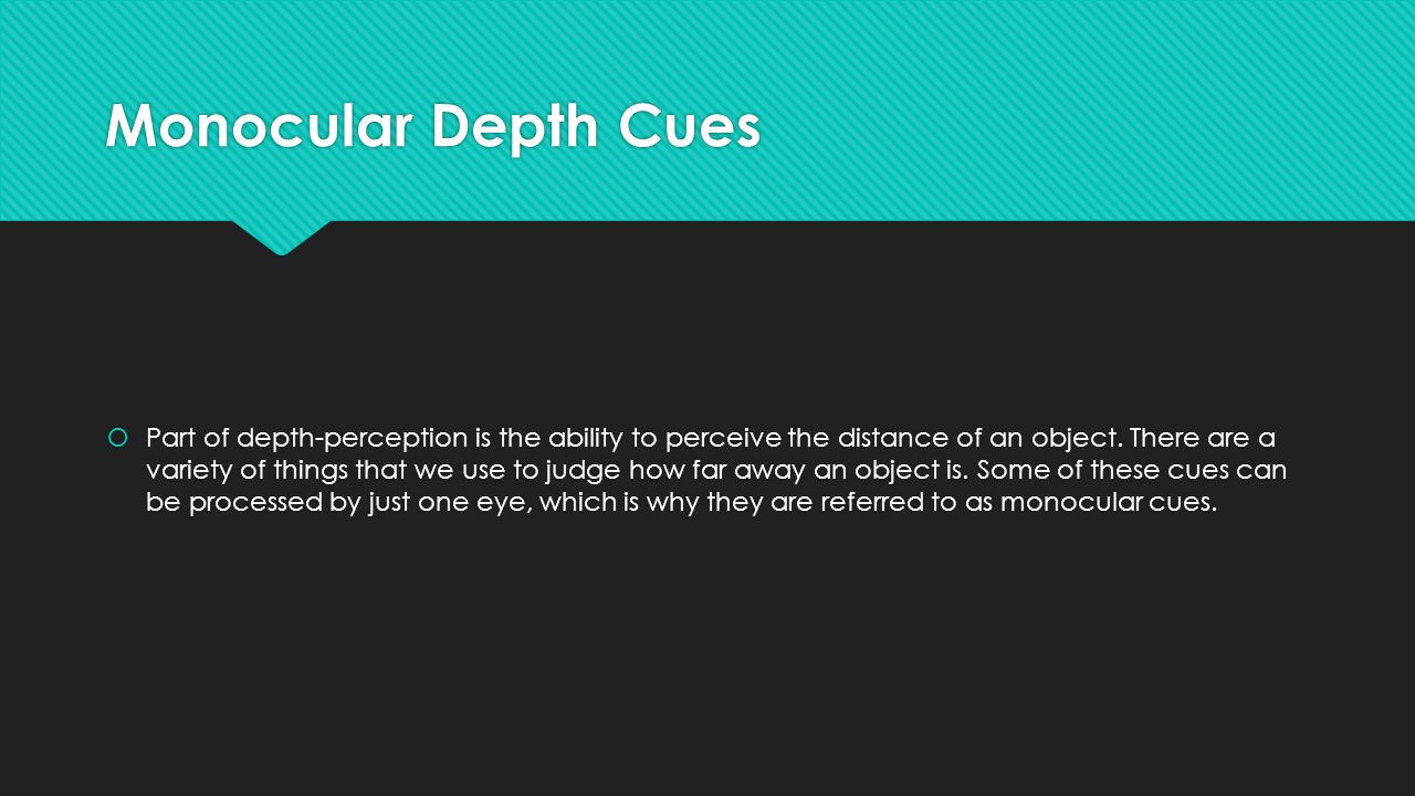 Monocular Depth Cues  Part of depth-perception is the ability to perceive the distance of an object.