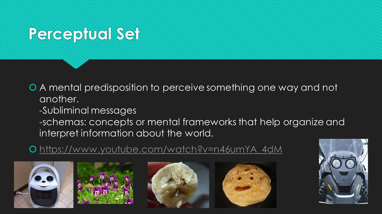 Perceptual Set  A mental predisposition to perceive something one way and not another.