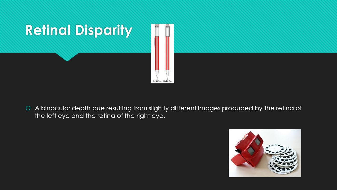 Retinal Disparity  A binocular depth cue resulting from slightly different images produced by the retina of the left eye and the retina of the right eye.