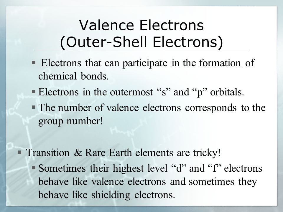 "Valence Electrons (Outer-Shell Electrons)  Electrons that can participate in the formation of chemical bonds.  Electrons in the outermost ""s"" and ""p"