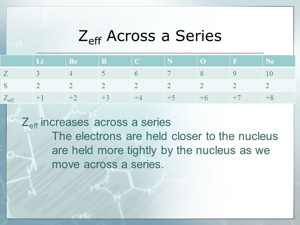 ACROSS A SERIES  Electron affinity increases to a maximum in Group VII  It is a minimum in Group VIII because these elements already have stable electron structures  We see the same anomalies in this trend due to the filled & half filled sublevel stability