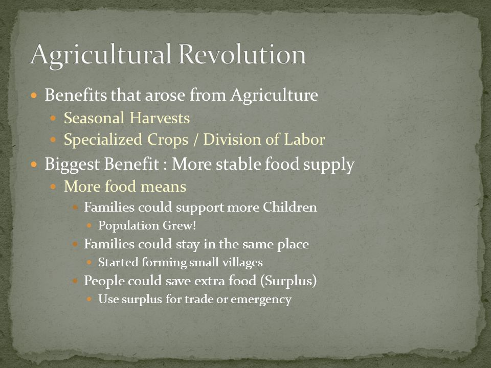 Benefits that arose from Agriculture Seasonal Harvests Specialized Crops / Division of Labor Biggest Benefit : More stable food supply More food means Families could support more Children Population Grew.