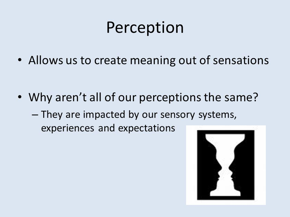 Perception Allows us to create meaning out of sensations Why aren't all of our perceptions the same.