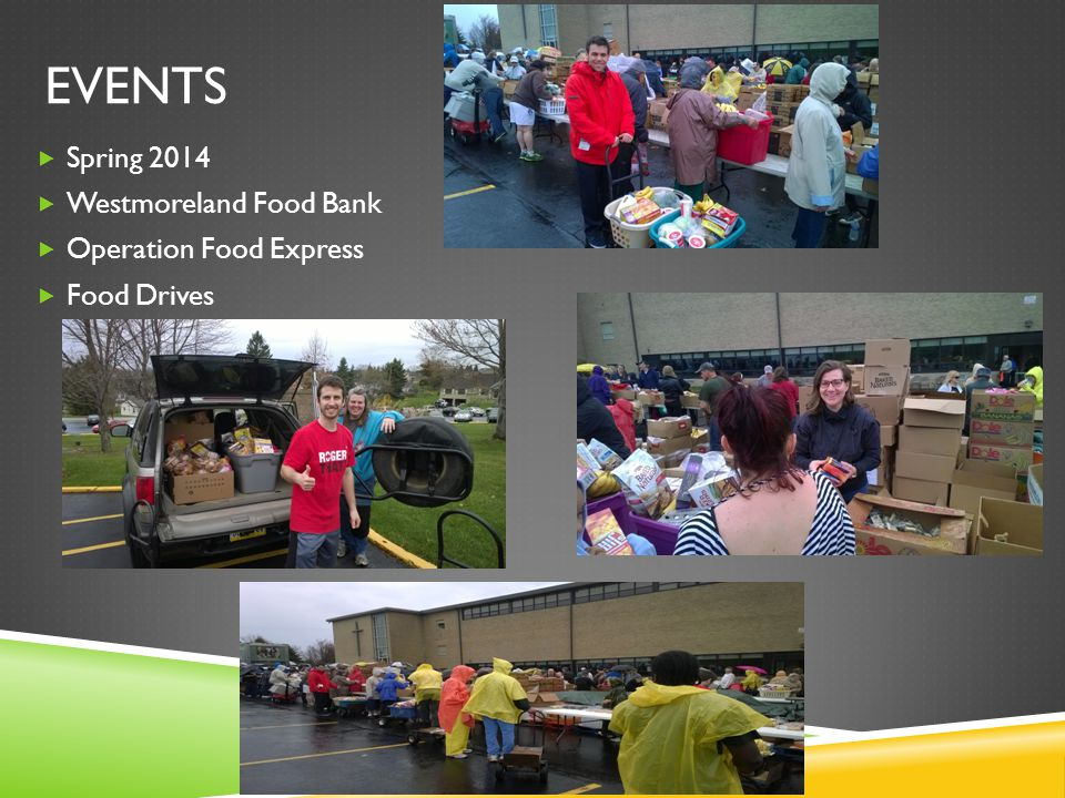 EVENTS  Spring 2014  Westmoreland Food Bank  Operation Food Express  Food Drives