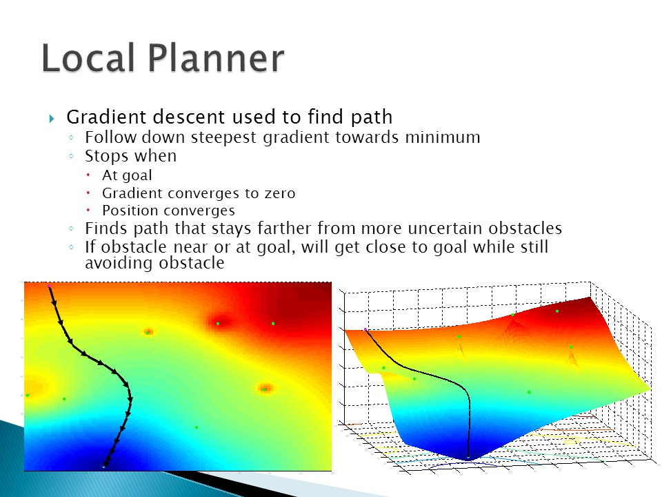  Gradient descent used to find path ◦ Follow down steepest gradient towards minimum ◦ Stops when  At goal  Gradient converges to zero  Position converges ◦ Finds path that stays farther from more uncertain obstacles ◦ If obstacle near or at goal, will get close to goal while still avoiding obstacle