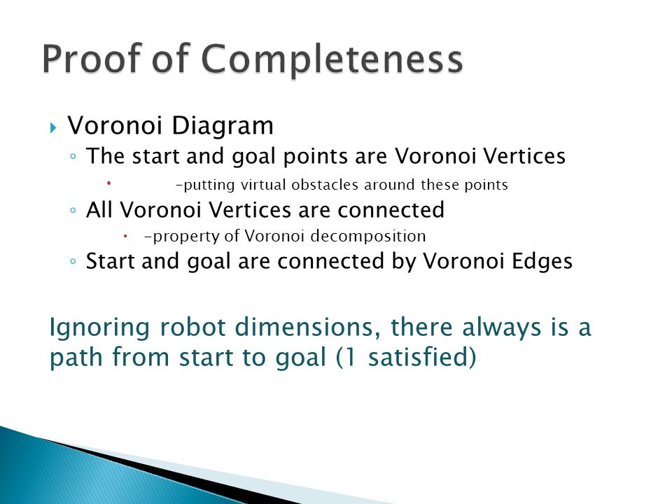  Voronoi Diagram ◦ The start and goal points are Voronoi Vertices  -putting virtual obstacles around these points ◦ All Voronoi Vertices are connected  -property of Voronoi decomposition ◦ Start and goal are connected by Voronoi Edges Ignoring robot dimensions, there always is a path from start to goal (1 satisfied)