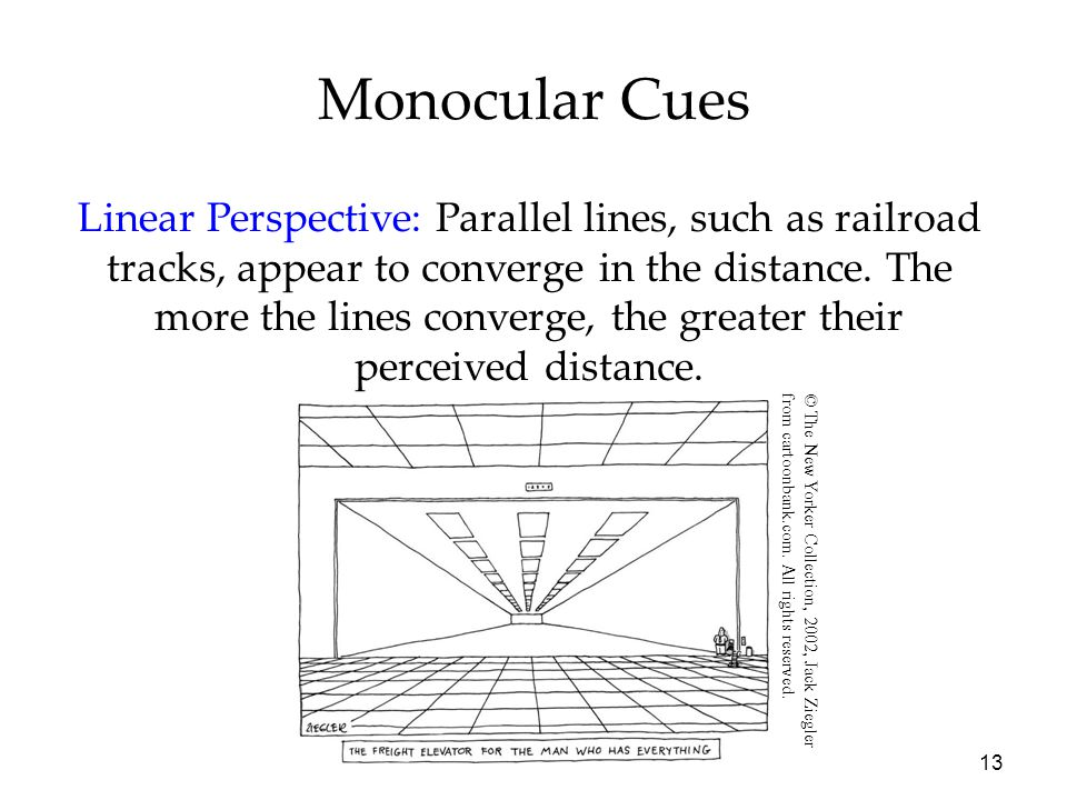 13 Monocular Cues Linear Perspective: Parallel lines, such as railroad tracks, appear to converge in the distance. The more the lines converge, the gr