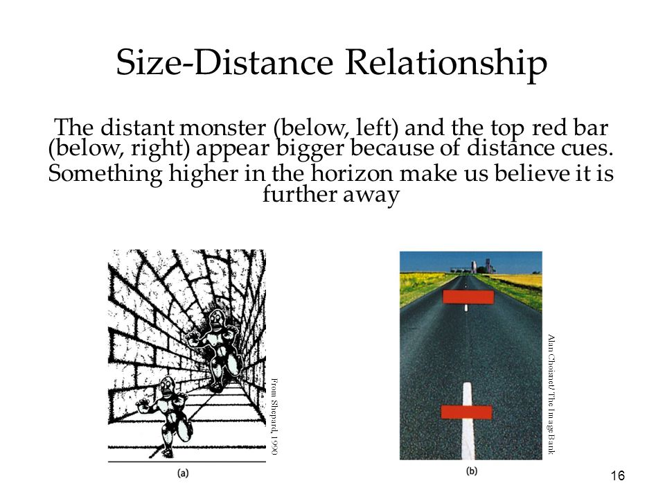 16 Size-Distance Relationship The distant monster (below, left) and the top red bar (below, right) appear bigger because of distance cues. Something h