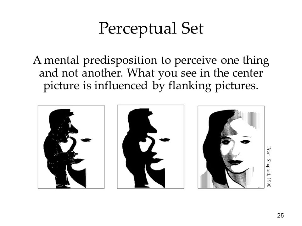 25 Perceptual Set A mental predisposition to perceive one thing and not another. What you see in the center picture is influenced by flanking pictures