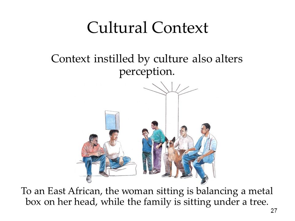 27 To an East African, the woman sitting is balancing a metal box on her head, while the family is sitting under a tree. Cultural Context Context inst